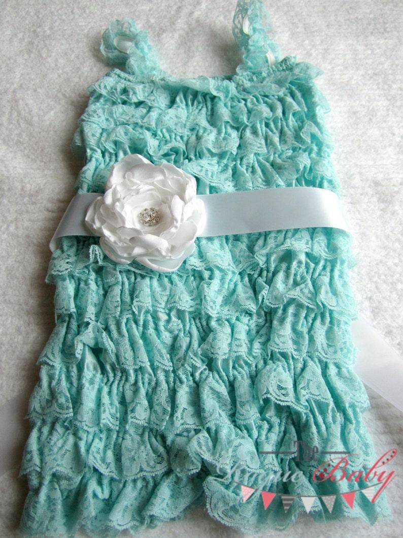White Satin Handmade Flower Sash with Rhinestone Button  Baby image 0