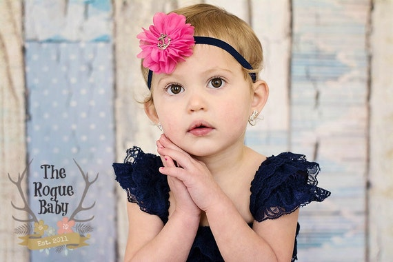 Nautical Anchor Flower Newborn Headband Baby Girl Hair Gold Navy Blue Hair Bow