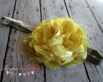 "Gray & Yellow Headband - Satin and Lace - Newborn -Toddler  - Photo Prop Flower Girl Womens 3/8"" elastic"