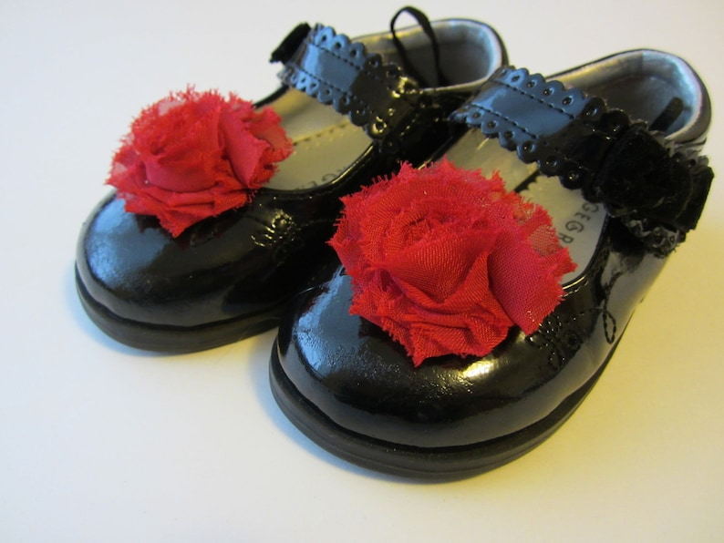Red Chiffon Rosette Shoe Clips. Wedding Photo Prop Baby image 0