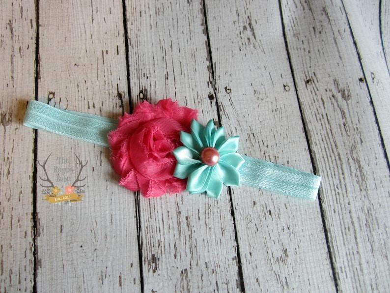 Pink & Aqua Headband   Baby Headband  Cotton Candy  Aqua image 0