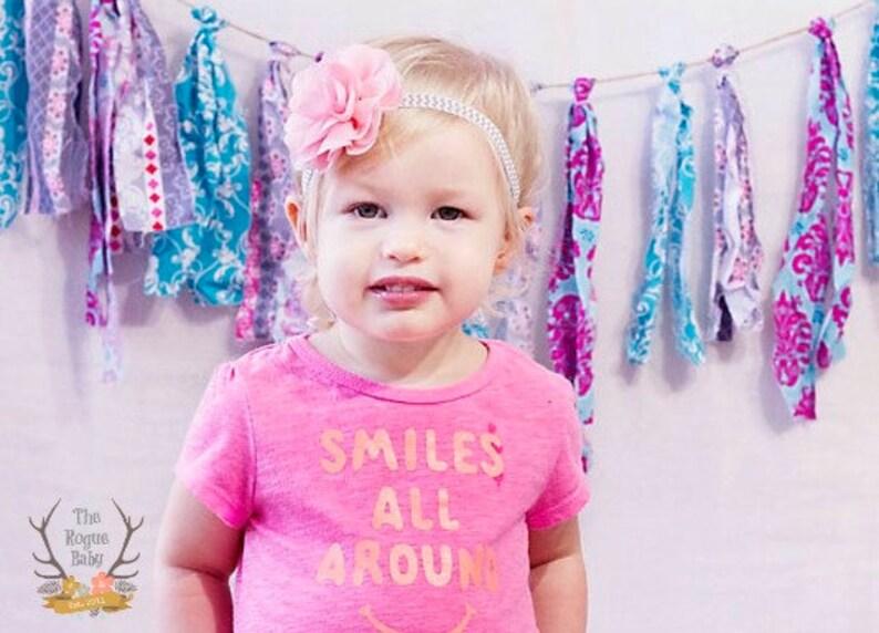 Pink with Gray & White Chevron Headband   Photo Prop  image 0