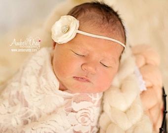 Newborn Baby Ivory Satin Ruffle Headband - Photo Prop - Cream Rhinestone