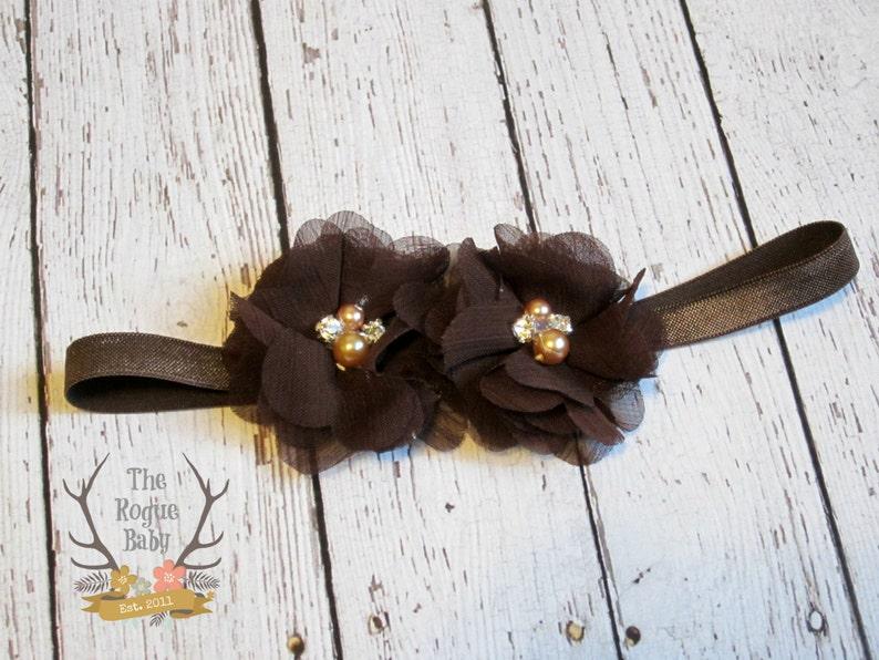 Dark Brown Headband   Rhinestone Pearl  Elegant Chocolate image 0