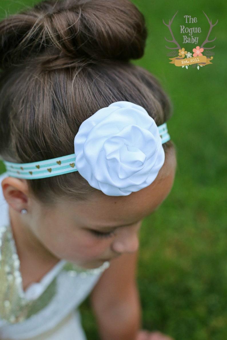 White Aqua & Gold Headband  Baby Headband  Gold Hearts  image 0