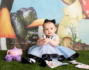 The Alice Black Satin Bow Headband - in Onederland Wonderland Newborn Infant Baby Toddler Girls Adult