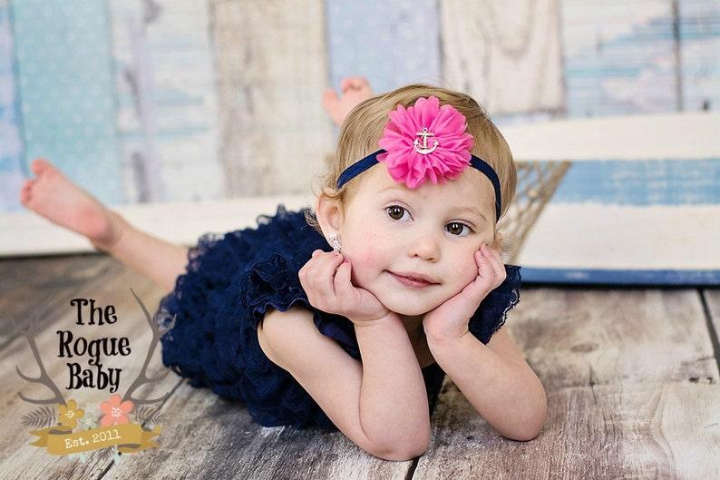 Nautical Anchor Headband   Hot Pink & Navy Blue   Newborn image 0