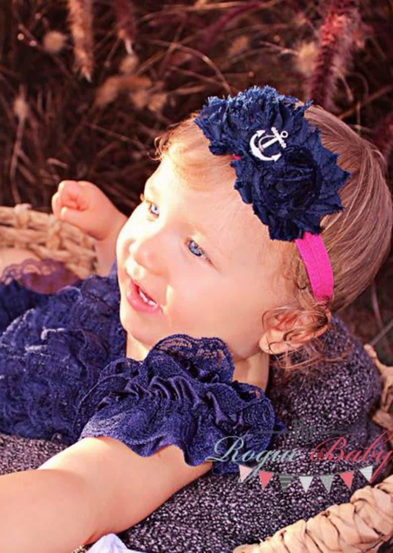 Hot Pink & Navy Blue Anchor Headband with Shabby Chiffon image 0
