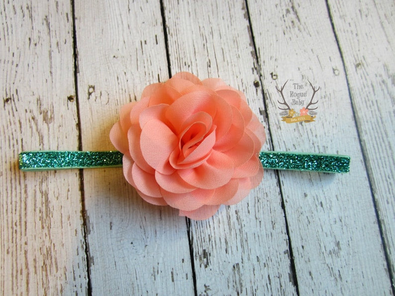 Coral & Aqua Glitter Headband   Baby  Newborn Infant Toddler image 0