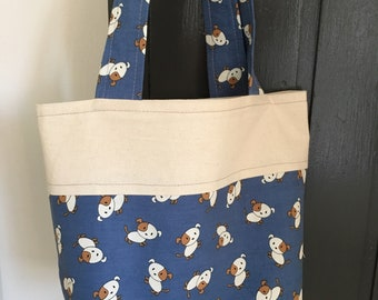 Tote Bag. Cotton Bag. Puppy Print. Calico . Lined Bag. Market Bag. Small  Shopper. Eco friendly. Washable. 33d432457b304