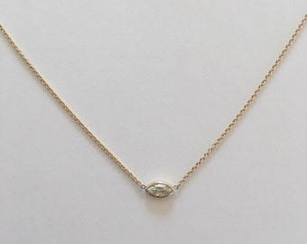 14k gold marquise moissanite necklace