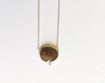 brown rosecut sapphire necklace