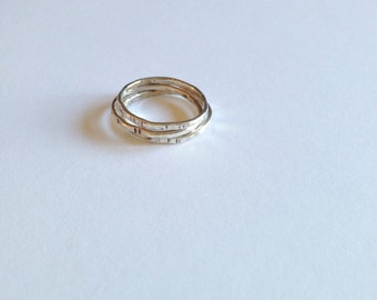 silver rustic stack ring