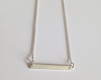 straight and narrow diamond bar necklace