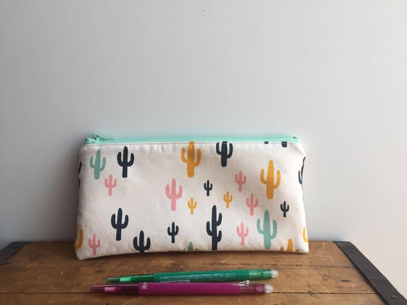 Cute Pencil Pouch Zipper Pouch Cactus Pencil Case Mint Zipper Back to School