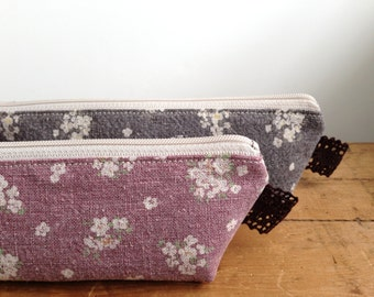 Pink and Floral Pencil Case, White Flower Pencil Pouch, Cosmetic Zipper Pouch, Cute Pencil Case, Back to School, Japanese Pencil Pouch