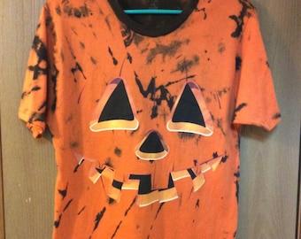 Tie Dyed Pumpkin Face T-shirt