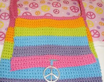 Rainbow Peace Sign Hippie Bag