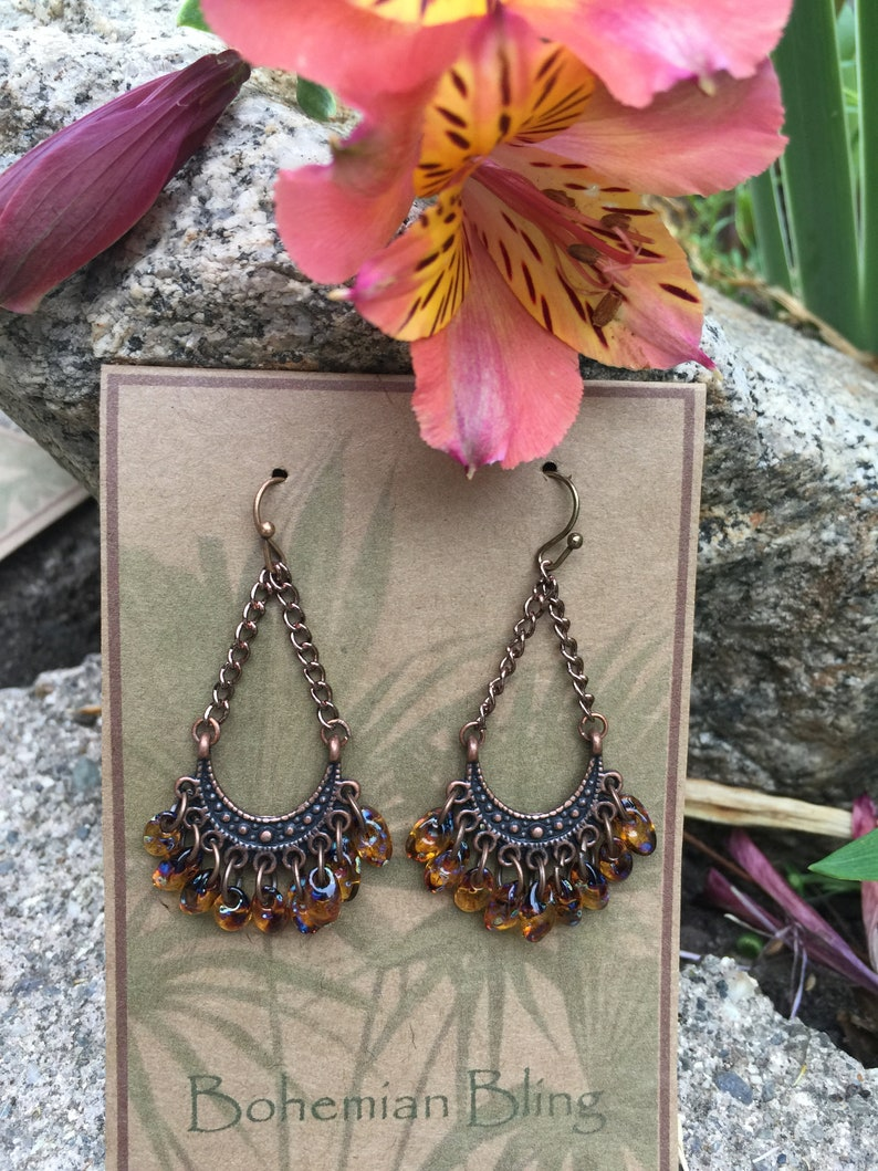 Fringe EarringsBrownCopperBoho ChicHandmade UniqueGlass FringeFestival Outfit-Gypsy-Cowgirls-Artistic Glass-Gift Earrings-Ships Today