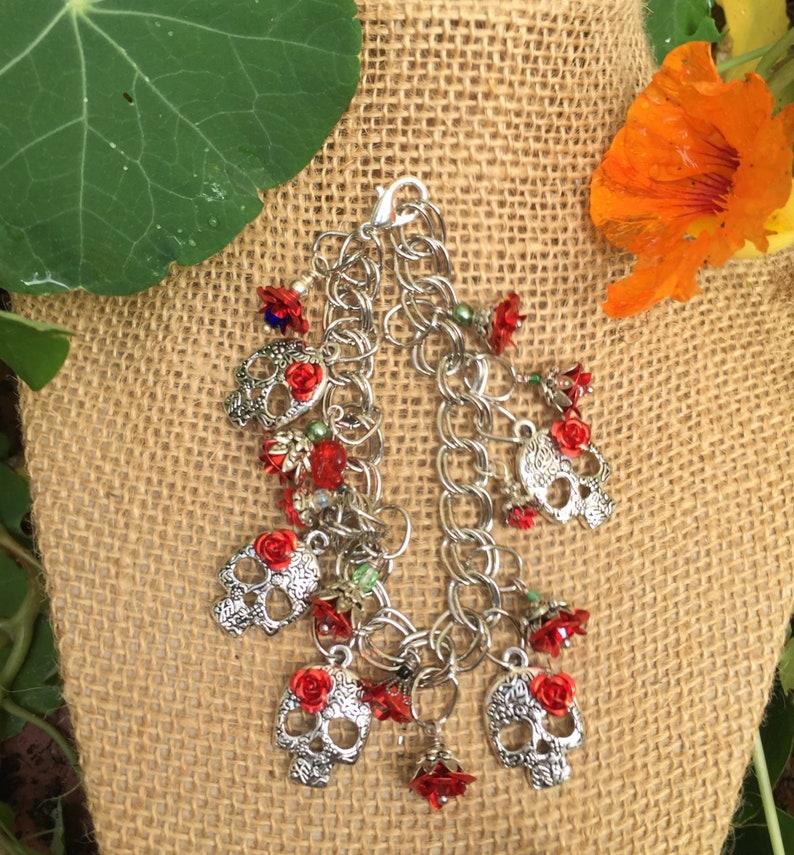 Day of the Dead Bracelet,Handmade Red Roses Charm Bracelet Skull Jewelry Day of the Dead Jewelry Day of the Dead,Sugar Skull Ships Today