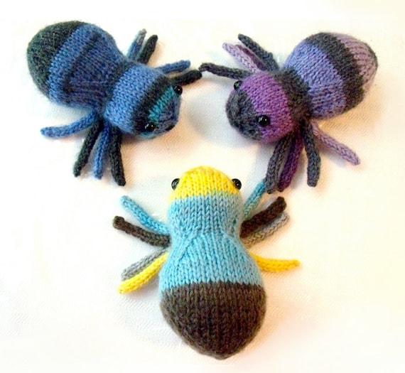 Stripy Sock Yarn Spider Hand Knit Toy Knitting Pattern