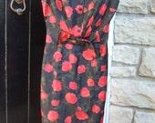 1960s Romantic Silk Rose Print Dress