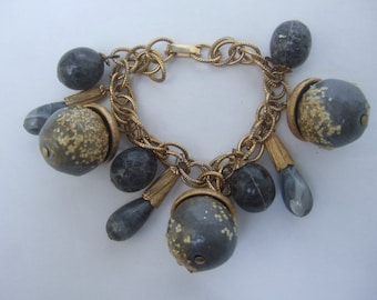 Stylish Gray Beaded Chunky Charm Bracelet c 1960