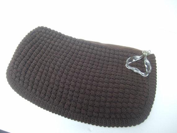 1940s Brown Crochet Knit Clutch Bag
