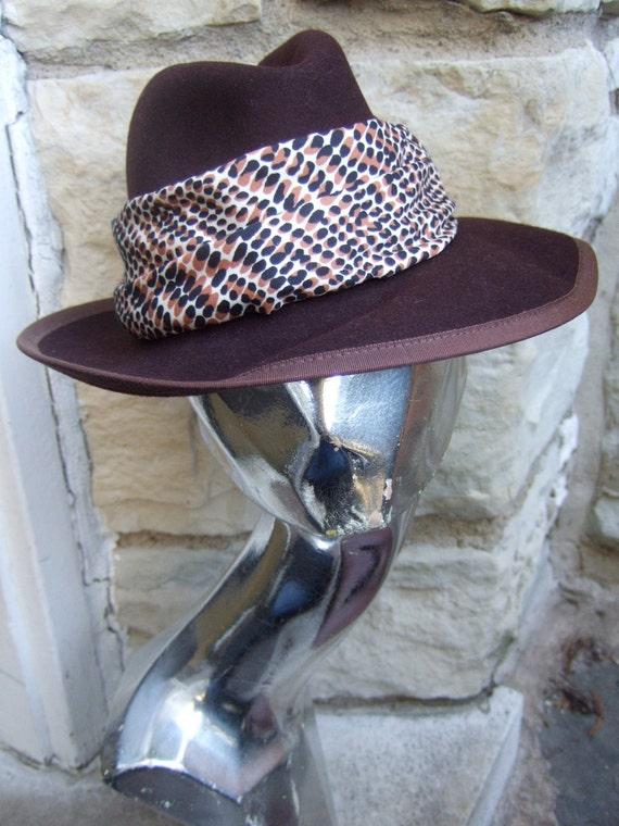NEIMAN MARCUS 1970s Sleek Brown Fedora Wool Hat N… - image 1