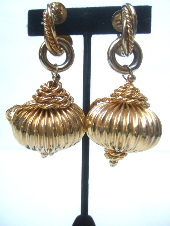 Large Gilt Metal Dangling Orb Clip on Earrings