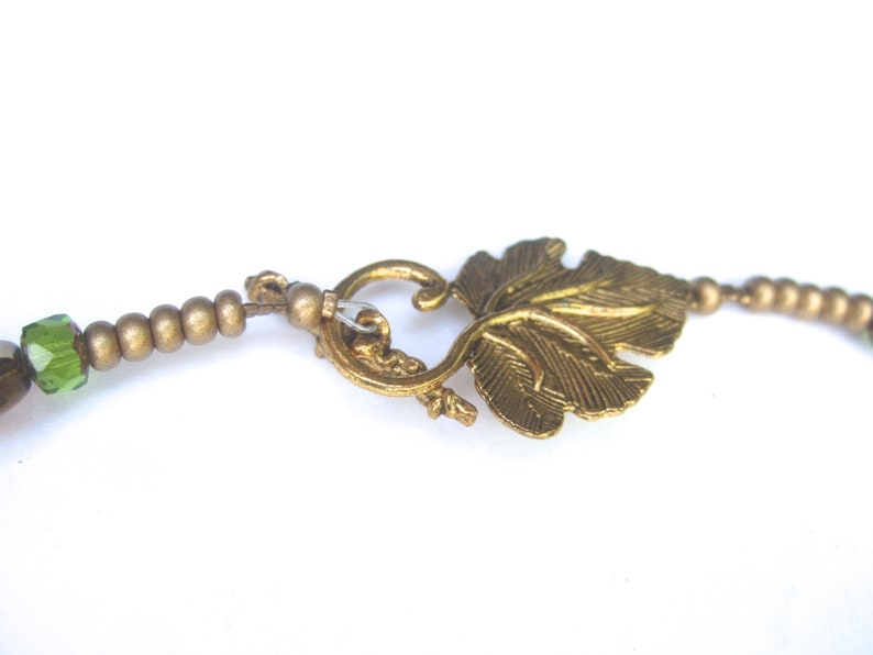 Frosted Green Glass Beaded Gilt Leaf Artisan Necklace c 1980s