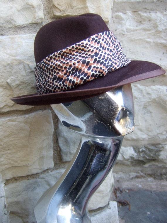 NEIMAN MARCUS 1970s Sleek Brown Fedora Wool Hat N… - image 3