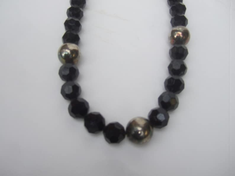 Dramatic Large Scale Black Lucite /& Silver Long Beaded Necklace c 1980s