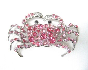 Massive Pink Crystal Crab Brooch
