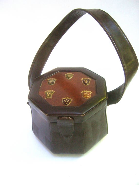 1950s Unique Brown Leather Octagon Box Purse
