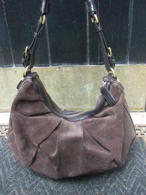 Chocolate Brown Suede Slouchy Leather Trim Handbag