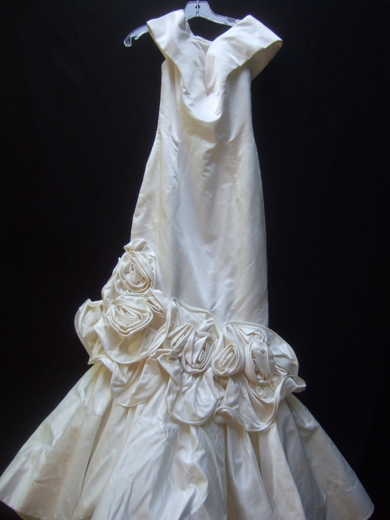 Scaasi White Satin Ruched Applique Mermaid Wedding Gown Etsy