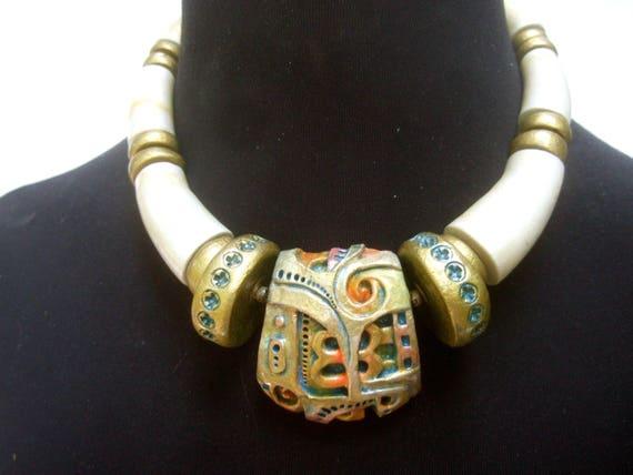 Unique Molded Resin Enamel chocker Necklace c 1980