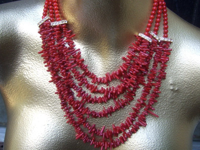Exotic Glass Dyed Coral  Statement Necklace