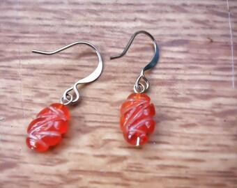 Carnelian Fall Leaf Earrings