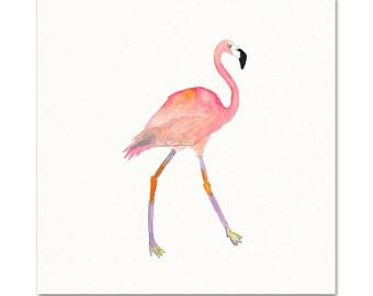 Pink Flamingo Watercolor Art Print. Watercolor Flamingo Wall Art. Beach Girls Room Print. Pink Flamingo Coastal Decor. Coastal Flamingo Art.