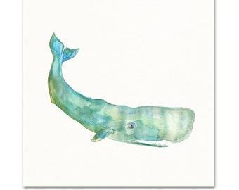 Watercolor Whale Art Print. Cute Whale Painting. Kids Nursery Wall Art. Baby Nursery Wall Art. Coastal Whale Wall Art. Teal Whale Art Print.