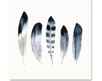 Blue Watercolor Feather Art Print. Indigo Watercolor Feather Art. Masculine Office Decor. Modern Monochromatic Feather Art. Southwest Art.