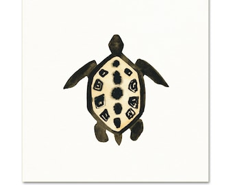 Sea Turtle Watercolor Art Print. Black & White Turtle Illustration. Sea Turtle Wall Art. Gallery Wall Nature Print. Tribal Style Animal Art.