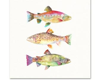 Watercolor Fish Art Print. Colorful Trout Decor. Boys Room Wall Art. Fisherman's Gift. Angler Art Print. Trout / Fish Decor. Lake House Art.