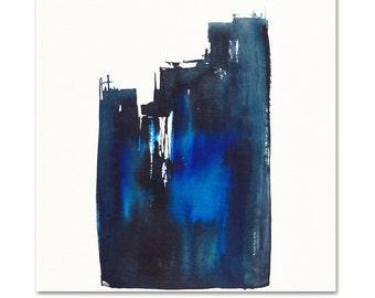 Abstract Art Print.  Indigo Watercolor Abstract Fine Art Print.  Guy Art. Masculine Art.  Archival Modern Art Print.  Minimal Home Decor.