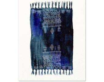 Boho Rug Watercolor Art Print. Indigo Boho Textile Art. Blue Monochromatic Boho Artwork. Gypsy Girl Wall Art. Modern Monochromatic Painting.