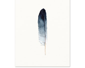 Indigo Feather Art Print. Minimalist Nature Decor. Watercolor Feather Art. Masculine Wall Art. Blue Modern Home Decor. Feather Watercolor.
