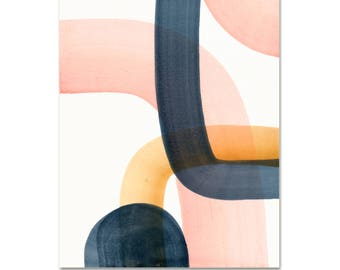 Abstract Art Print. Modern Wall Art. Minimalist Painting. Blush, Gold, and Gray Abstract Art Print. Gallery Wall Art Print. Modern Decor.
