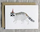 Raccoon Birthday Card. Animal Birthday Card. Raccoon Greeting Card. Raccoon With Party Hat. Animal Lover Birthday Card. Cute Raccoon Card.